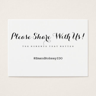 Simply Enchanted wedding hashtag card