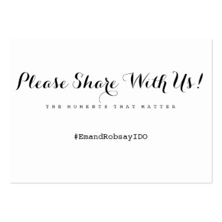 Simply Enchanted wedding hashtag card Large Business Card