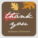 Simply fall leaves autumn brown thank you gift tag square sticker