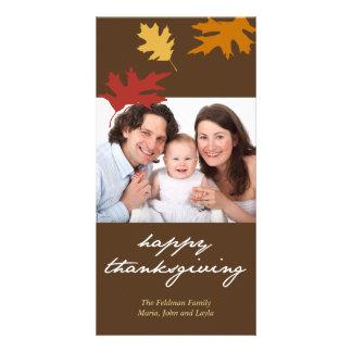 Simply fall leaves happy thanksgiving family photo custom photo card