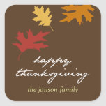 Simply fall leaves happy thanksgiving gift tag stickers