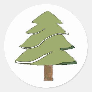 simply fir tree classic round sticker