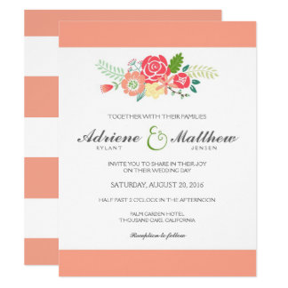 Simply Floral & Stripes Wedding Invitation / Peach