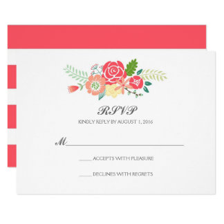 Simply Floral & Stripes Wedding RSVP / Coral Card
