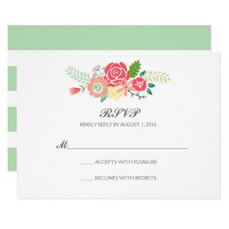 Simply Floral & Stripes Wedding RSVP / Mint Card