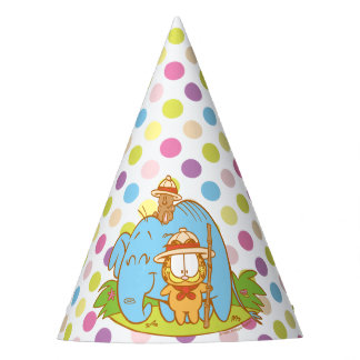 Simply Garfield and Pooky with a Blue Elephant Party Hat