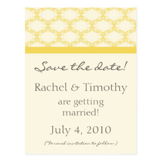 Simply Glamourous Save the Date Postcard, Yellow Postcard