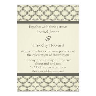 Simply Glamourous Wedding Invite, Espresso & Beige Card
