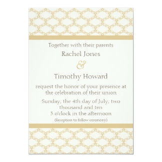 Simply Glamourous Wedding Invite, Latte Card