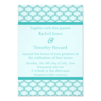 Simply Glamourous Wedding Invite, Turquoise Card
