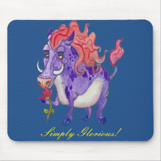 Simply Glorious Pig Watercolor Design Mouse Pad