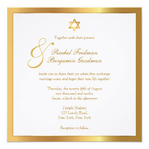 Simply Gold Jewish Wedding Invitation