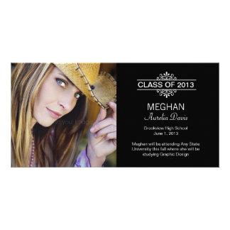 Simply Gorgeous Graduation Announcement - Black Personalized Photo Card