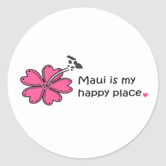 Simply Happy on Maui Classic Round Sticker