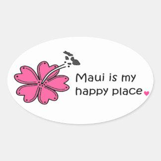 Simply Happy on Maui Oval Sticker