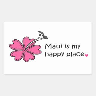 Simply Happy on Maui Rectangular Sticker