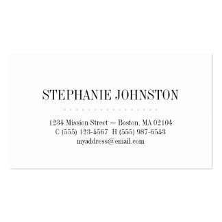 Simply high fashion teal stripe personal calling Double-Sided standard business cards (Pack of 100)