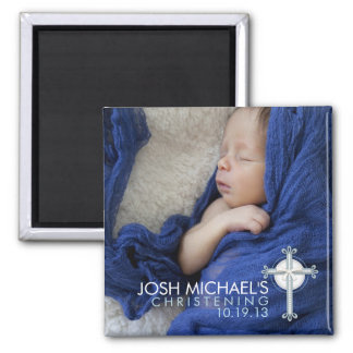 Simply Holy Cross Christening Photo Keepsake 2 Inch Square Magnet