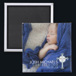 """Simply Holy Cross Christening Photo Keepsake Magnet<br><div class=""""desc"""">A beautiful design that creates a lovely keepsake for family and friends of your baby boy&#39;s blessed event. Features a full photo of baby and accented by a delicate blue cross in the corner.  Perfect for any religious celebration including baptism,  christening,  first communion or confirmation.</div>"""