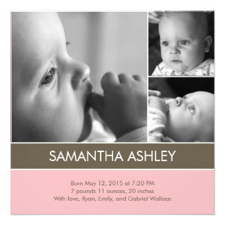 Simply Lovely - 3 Photos Birth Announcement Custom Invite