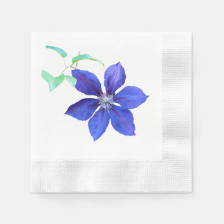 Simply Lovely Purple Clematis Blossom Coined Cocktail Napkin