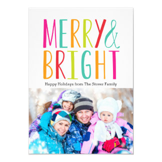 """Simply Merry & Bright Holiday Photo Cards 5"""" X 7"""" Invitation Card"""