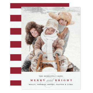 Simply Merry Holiday Photo Card | Cranberry