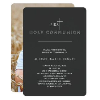 Simply Modern First Holy Communion Photo Religious Card