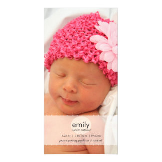 Simply Modern Girl Baby Photo Birth Announcement