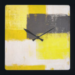 """&#39;Simply Modern&#39; Grey and Yellow Abstract Art Clock<br><div class=""""desc"""">The image used to create this product is an original abstract art painting by T30 Gallery. This is a great way to sharing and enjoy likable art.</div>"""