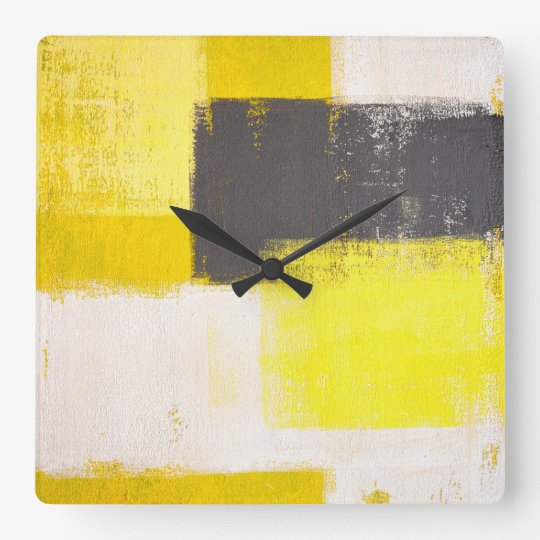 'Simply Modern' Grey and Yellow Abstract Art Clock