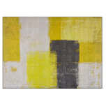 'Simply Modern' Grey and Yellow Abstract Art Cutting Board