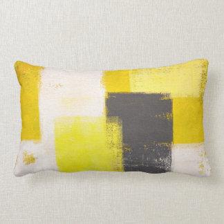 'Simply Modern' Grey and Yellow Abstract Art Lumbar Pillow