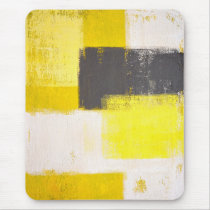 'Simply Modern' Grey and Yellow Abstract Mousepad