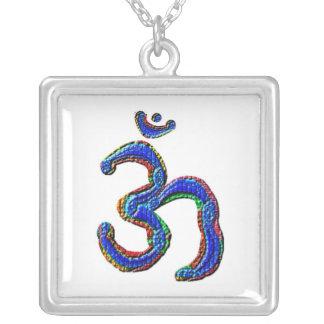 Simply OM MANTRA Symbol Square Pendant Necklace