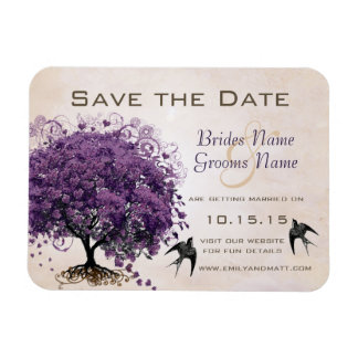 Simply Peachy Heart Tree  Wedding Save the Date Rectangular Photo Magnet