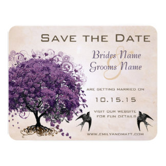 Simply Peachy Purple Heart Leaf Tree Save the Date Card