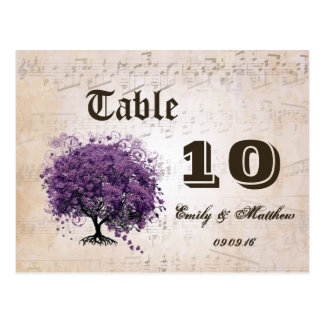 Simply Peachy Purple Heart Leaf Tree Table Number Post Cards