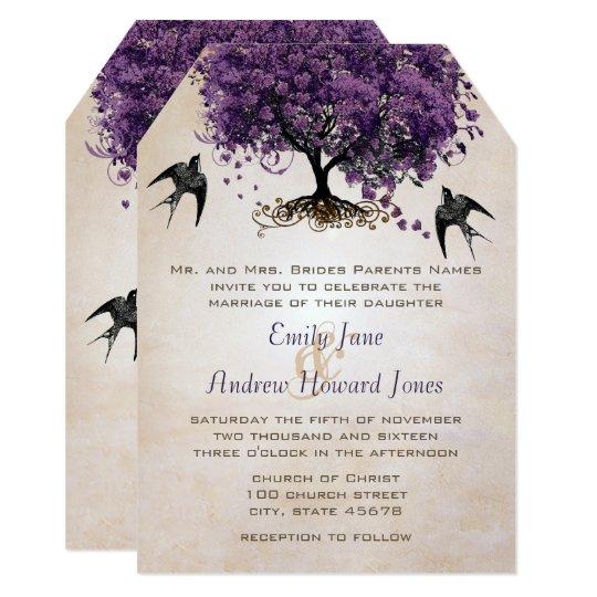 Simply Peachy Purple Heart Leaf Tree Wedding Card