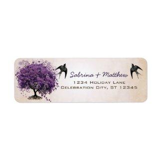 Simply Peachy Purple Heart Leaf Tree Wedding Label