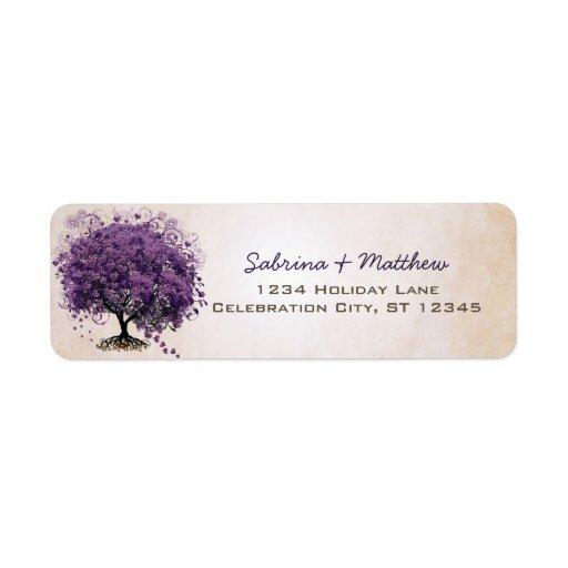Simply Peachy Purple Heart Leaf Tree Wedding Label Return Address Label