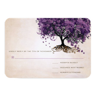 Simply Peachy Purple Heart Leaf Tree Wedding RSVP Card