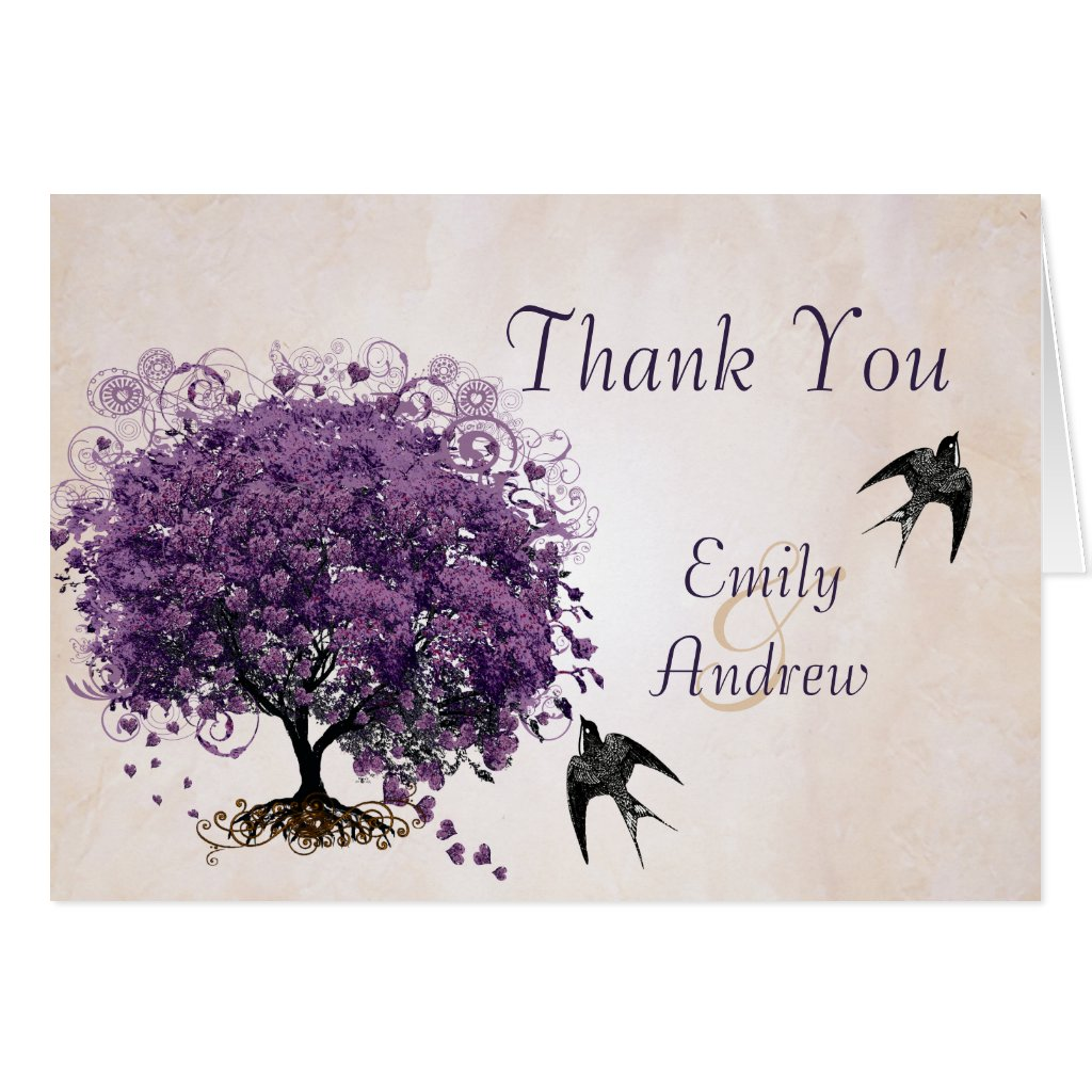 Simply Peachy Purple Heart Tree Wedding Thank You Cards