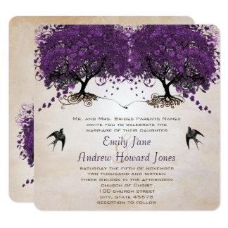 Simply Peachy Purple Vintage Heart Leaf Tree Card