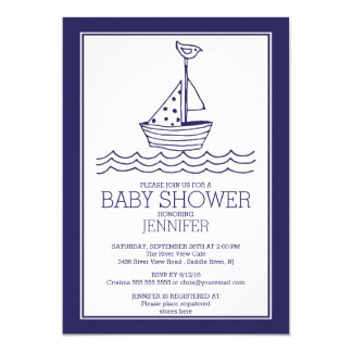 Simply Perfect Nautical Sailboat Baby Shower Card