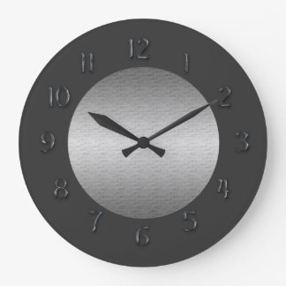 """Simply Pewter""""Faux Metal"""" Numerals Round Wallclocks"""