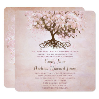 Simply Pink Heart Leaf Tree Love Bird Wedding Card