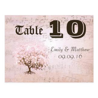 Simply Pink Heart Leaf Tree Table Number Postcard