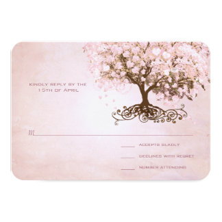 Simply Pink Heart Leaf Tree Wedding RSVP Card