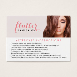 Simply Pink Lash Salon Aftercare Card